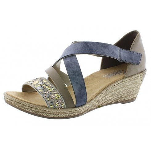 Rieker 62405-42 Blue/Grey Wedge Slip On Sandal.