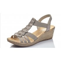 62436-40 Grey Wedge Elasticated Pull On Sandal