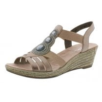 62459-31 Rose Pink Wedge Elasticated Pull On Sandal
