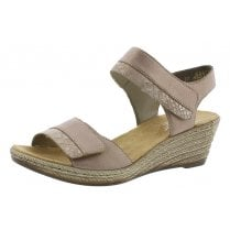 62470-31 Rose Pink Wedge Sandal With Velcro Strap