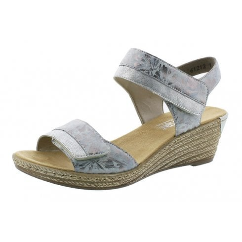Rieker 62470-91 Silver Wedge Sandal With Velcro Straps