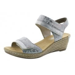 62470-91 Silver Wedge Sandal With Velcro Straps