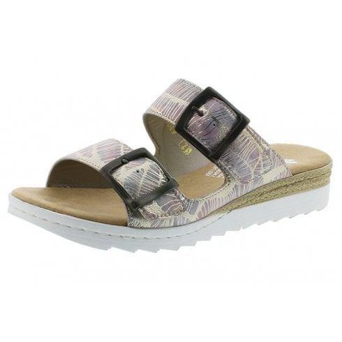 63094-90 Pink/Silver Leather Flat Mule With Velcro Straps