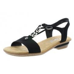 63453-00 Black Flat Slip On Sandal