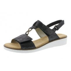 63687-45 Grey Wedge Velcro Fastening Sandal