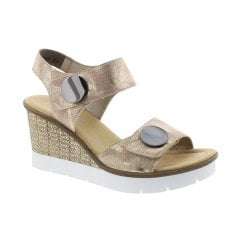 65569-31 Rose Gold Wedge Sandal With Velcro Straps