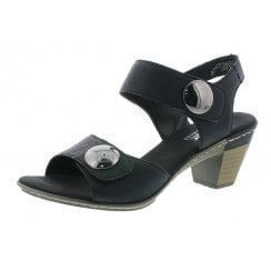 67369-01 Black leather heeled velcro sandals