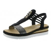 679L1-90 Black Wedge Gladiator Style Sandal