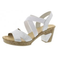 69720-80 White Heeled Sandal With Elasticated Strap.