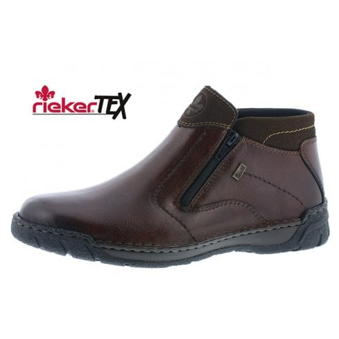 Rieker B0380-25 Brown Leather Flat Gortex Boot With Two zips