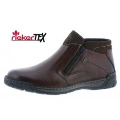 B0380-25 Brown Leather Flat Gortex Boot With Two zips