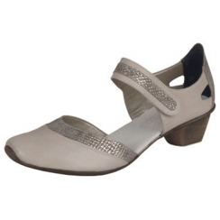 Beige/grey leather heeled mary jane style shoe