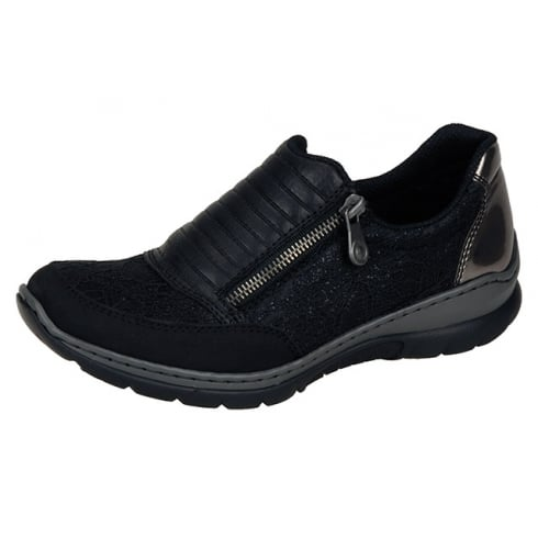 Rieker Black and bronze flat trainer shoe with side zip