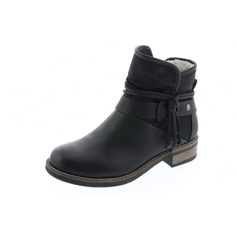 5bd4562a3ee7 Rieker Black fleece lined flat ankle boot with side zip - Rieker from The  Shoe Box Yarm UK
