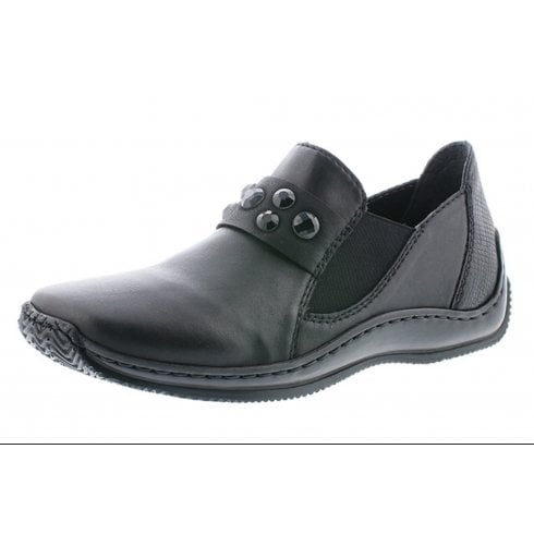 Rieker Black leather flat slip on shoe