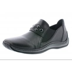 Black leather flat slip on shoe