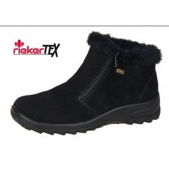 Black leather flat waterproof gortex ankle boot