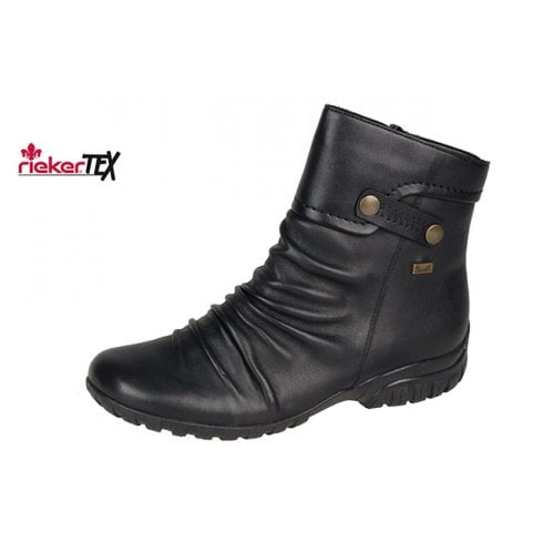 Rieker Black Leather Gortex Flat Ankle Boot With Side Zip