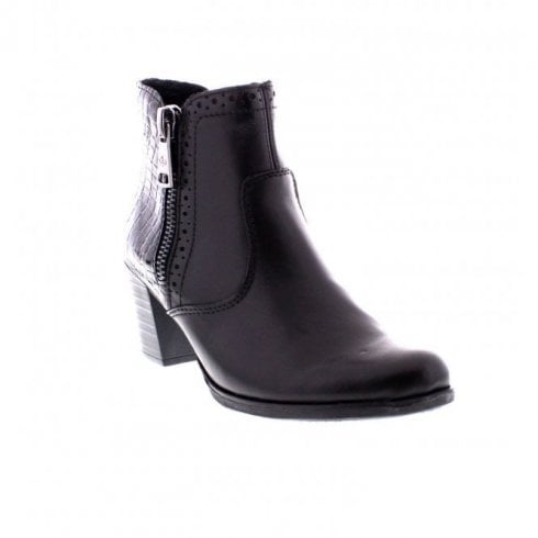 Rieker Black Leather Heeled Ankle Boot With Side Zip