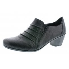 Black leather heeled brogue style shoe