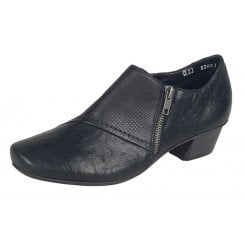 Black leather heeled shoe with side zip