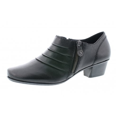 Rieker Black leather heeled shoe with side zip