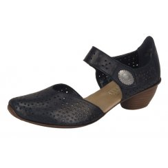 Black leather heeled shoe with velcro strap