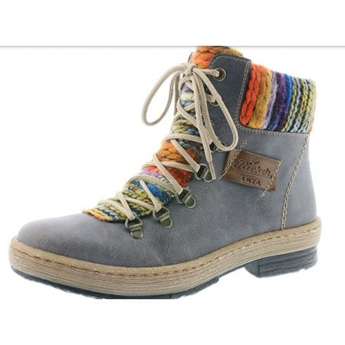 Rieker Blue/Grey combination lace up boot with side zip