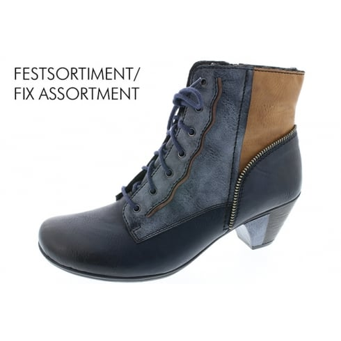 Rieker Blue/grey multicoloured heeled lace up boot with side zip
