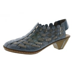 Blue leather multi coloured heeled shoe/sandal