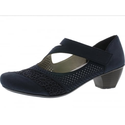 Rieker Blue Low Heel Mary Jane Style Shoe