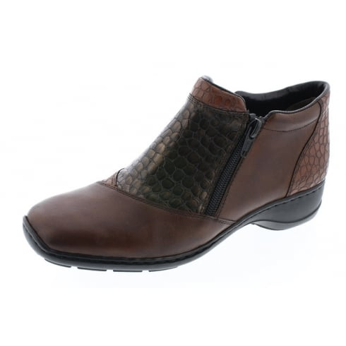 Rieker Brown leather flat ankle boot with dual zips