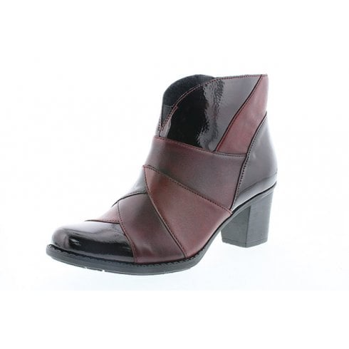 Rieker Burgundy/Brown Leather And Patent Heeled Boot With Side Zip