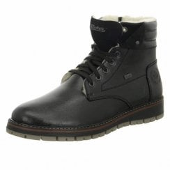 F4114-00 Black Leather Flat Gortex Boot With Laces And Zip