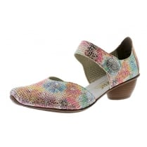 Floral muiticoloured heeled Mary Jane style shoe