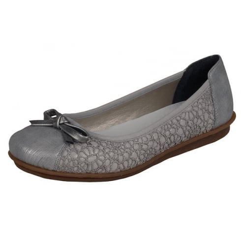 Rieker Grey flat ballet pump style shoe with lace trim and bow