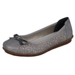 Grey flat ballet pump style shoe with lace trim and bow