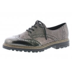 Grey flat brogue style slip on shoe