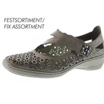 Grey leather flat mary jane style shoe