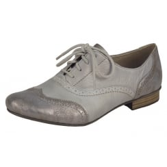 Grey/Silver leather brogue style flat lace up shoe