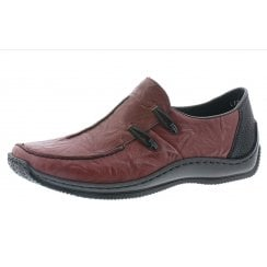 L1751-35 Red leather flat slip on shoe