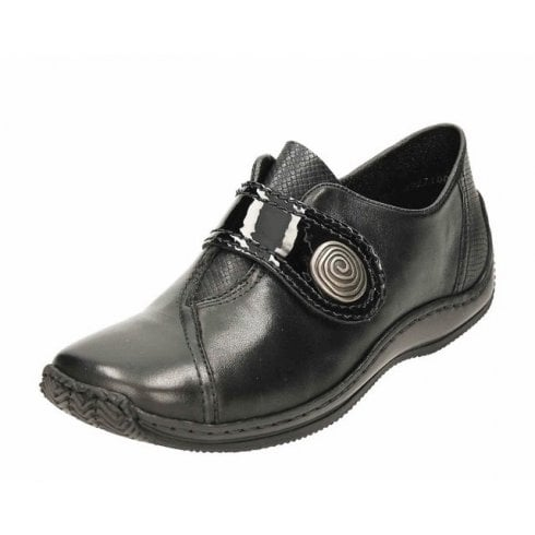 Rieker L1760-00 Black Leather Flat Velcro Fastening Shoe