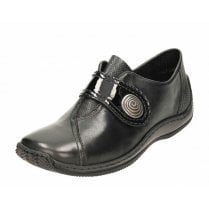 L1760-00 Black Leather Flat Velcro Fastening Shoe