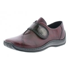 L1760-35 Red Leather Flat Velcro Fastening Shoe