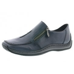 L1780-16 Blue Leather Flat Slip On Shoe With Side Zip