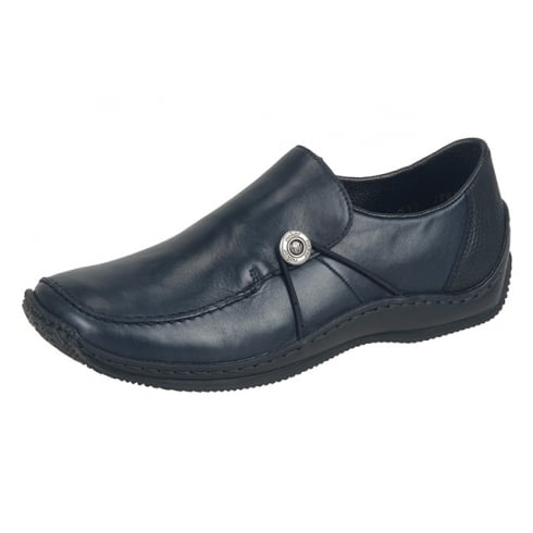Rieker L1781-14 Navy leather flat slip on shoe