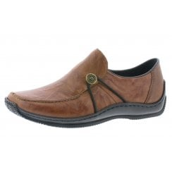 L1781-22 Brown leather flat slip on shoe