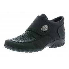 L4664-00 Black leather velcro fastening shoe /boot