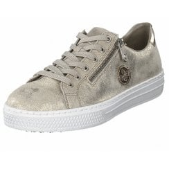 L59L8-62 Gold/Beige Leather Flat Lace Up Trainer Style Shoe With Side Zip