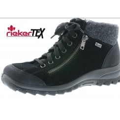 L7132-01 Black leather flat waterproof gortex ankle boot